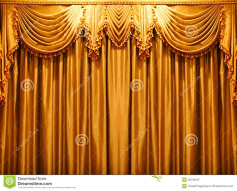 luxury gold fabric curtains backdrop on the theate stock