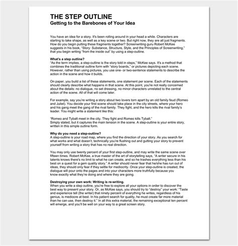 Screenplay Outline Template by Script Outline Template 12 Exles For Word Pdf Format