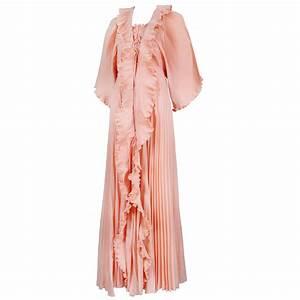 zandra rhodes peach pink pleated evening dress and robe With peach robe