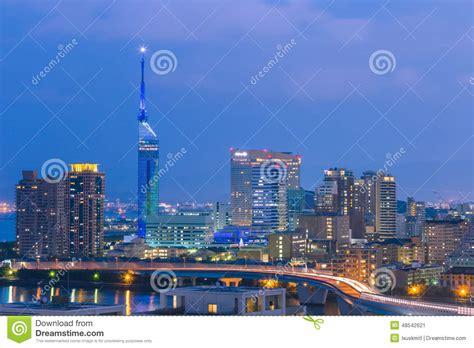 Vista Di Panorama Di Paesaggio Urbano Di Fukuoka In Kyushu