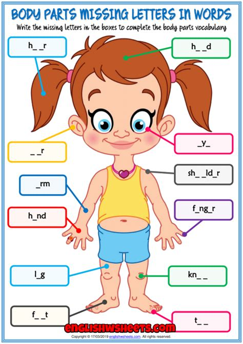 body parts missing letters  words exercise worksheet