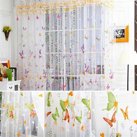 Butterfly Door Curtain by Floral Butterfly Sheers Room Curtain Voile Tulle Window