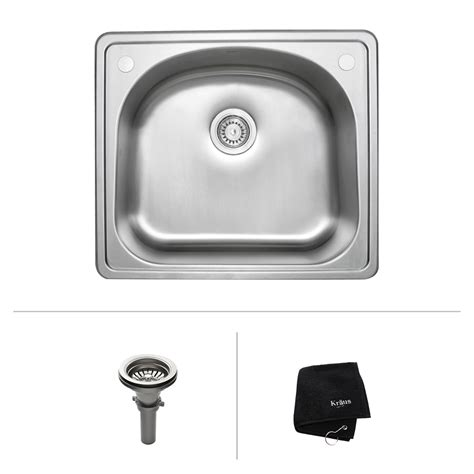 kitchen sink at lowes kraus ktm24 25 in topmount single bowl 18 sink