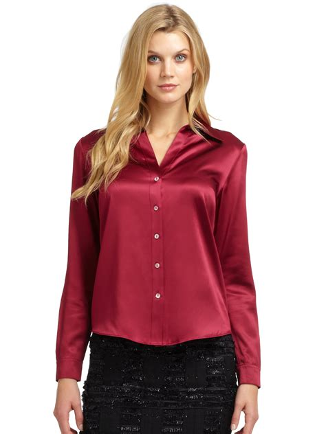 fitted shirt dress lafayette 148 york silk satin blouse in berry lyst