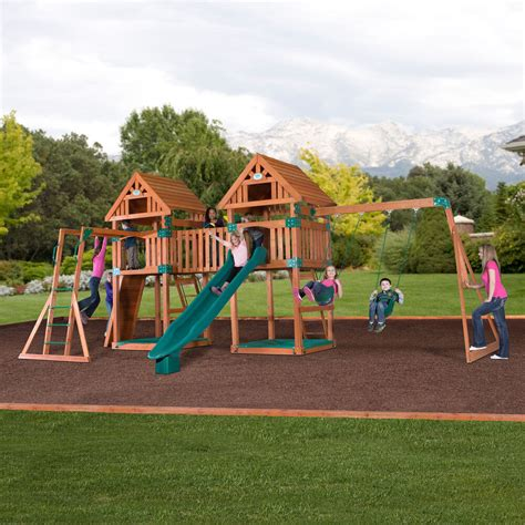 Backyard Play Set by Wooden Swing Set Kit Outdoor Playset Pk Backyard