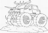 Monster Coloring Truck Pages Drawing sketch template