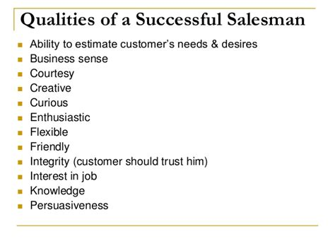 Qualities For A Sales by Chapter 8 Personal Selling