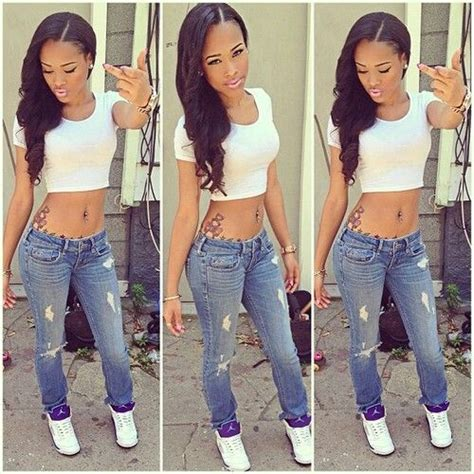 Pretty Girl Swag Dope Denim Blue Jeans White Crop Top Jordan Fashion Style Beauty Caramel ...