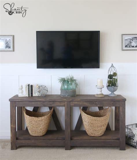farmhouse tv console table diy diagonal base farmhouse console table shanty2chic