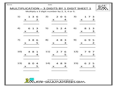 multiplication 3 digits by 1 digit sheet 1 worksheet