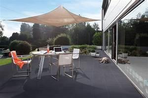 Toile Tendue Jardin : toile tendue sur une terrasse contemporaine avec la dalle ~ Melissatoandfro.com Idées de Décoration