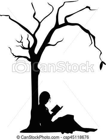 Girl reading under a tree.