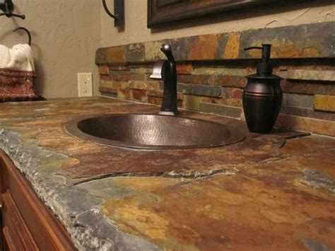Tile Bathroom Countertop Ideas by I Like Gray Slate Better Than Brown Slate But This Is