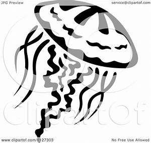 Clipart Of A Black And White Jellyfish 3 - Royalty Free ...