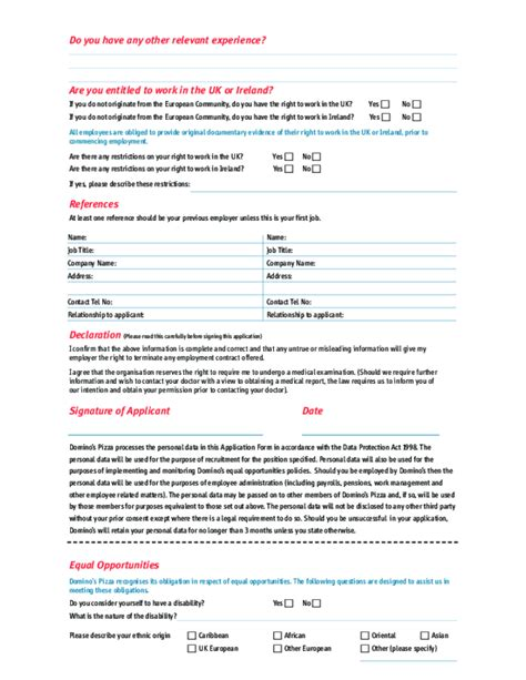 Domino S Resume Application by Free Printable Domino S Application Form Page 2