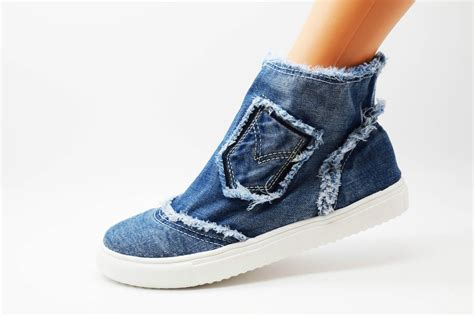 New Ladies Shoes Jeans Material Stretchy Flat Denim Fabric