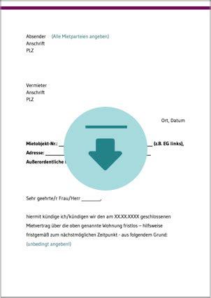 Ordentliche Kündigung Mieter by K 252 Ndigung Mietvertrag Ratgeber Und Kostenlose Downloads