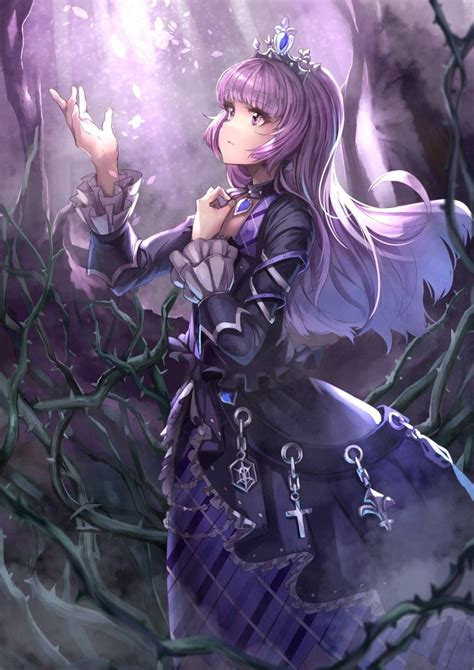 anime girl princess gothic purple hair fantasy