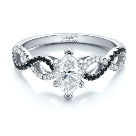custom black and white engagement ring 100607 seattle bellevue joseph jewelry
