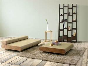 Japanese eco friendly sofa and ottoman agura by sajica for Japanese living room furniture