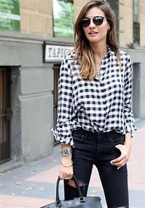 Chemise Noir Et Blanc : outfit chemise blanche femme ~ Nature-et-papiers.com Idées de Décoration