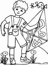 Kite Coloring Pages Kites Boy Colouring Holding Listener Hopscotch Template Clipartmag Clipart Clipartpanda Playing Visit sketch template