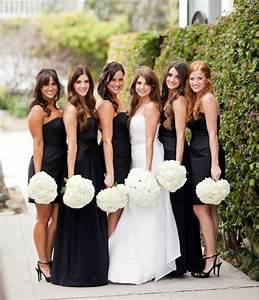 Mismatched black bridesmaid dresses with white hydrangea for Black white wedding dresses