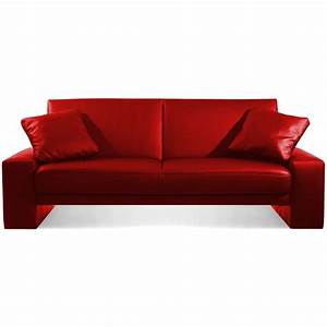 Sofa bed designer red faux leather supra 2 seater sleeper for Red sectional sofas cheap