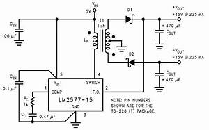 lm1577 lm2577 dual 15v power supply With multi led version of the circuit with three leds and various resistors