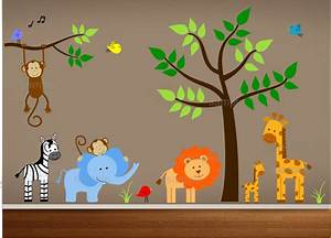 Jungle theme nursery wall decal bedroom art playroom