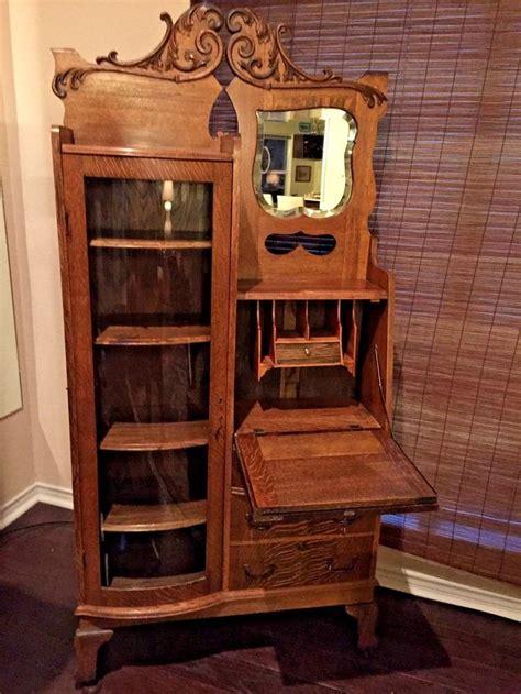 Antique Bookcase Desk Combo by Details About Antique Drop Front Oak Desk 1900 S