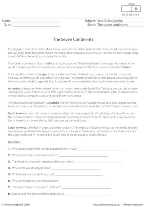 geography printable primary worksheets