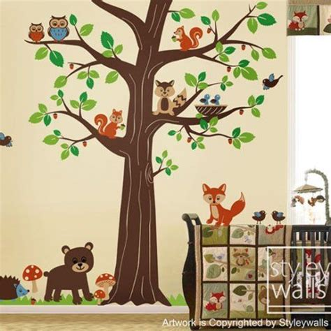 Woodland Animals Forest Animals Wall Decal Huge Tree