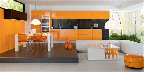 cuisine en orange décoration cuisine orange