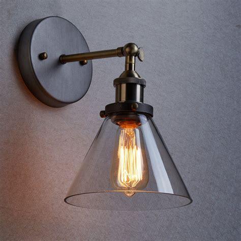 ecopower industrial edison antique glass 1 light wall