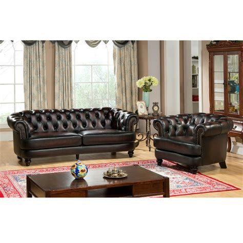 Leather Loveseat And Chair by Rubbed Tufted Brown Chesterfield Top Grain
