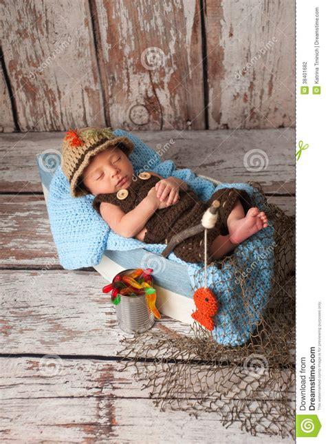 newborn baby boy  fisherman outfit stock photo image