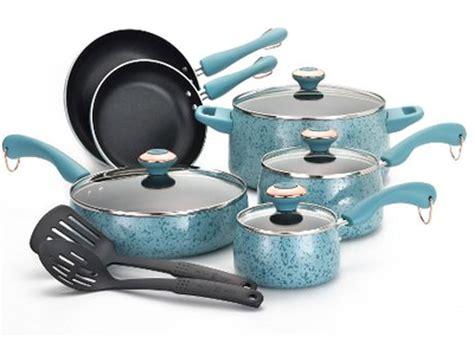 paula deen aqua  piece cookware set  turquoise