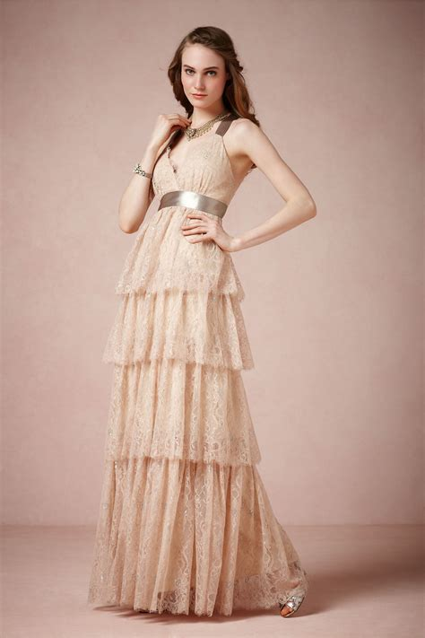 Long Lace Bridesmaid Dress In Light Blush Pink Onewed Com