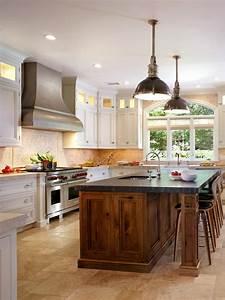 white, kitchen, with, butternut, wood, island