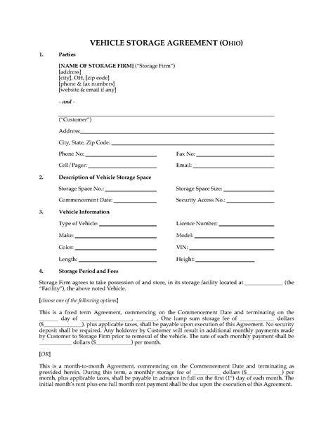 ohio vehicle storage agreement form legal forms