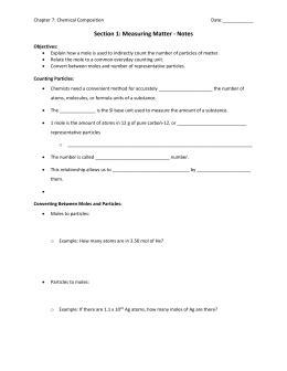 Mole Worksheet #1 Moles ↔ Particles
