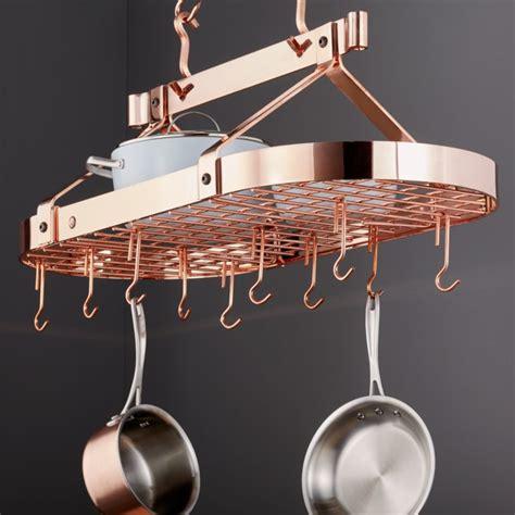 enclume oval copper ceiling pot rack crate  barrel