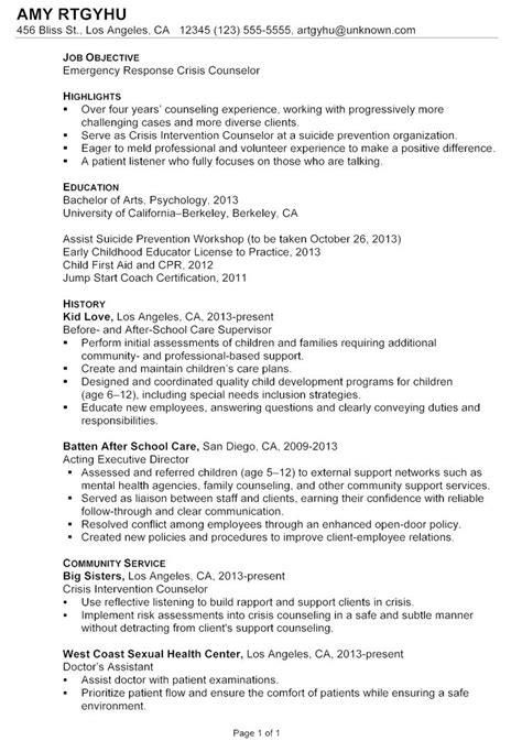 chronological resume sle emergency response crisis
