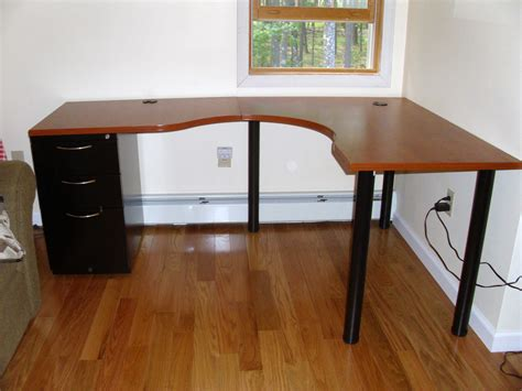 table and l in one wooden top l shaped ikea desk with file cabinet on one