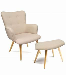 Fauteuil Repose Pied : fauteuil en tissu beige capitonn avec repose pieds wadiga ~ Teatrodelosmanantiales.com Idées de Décoration