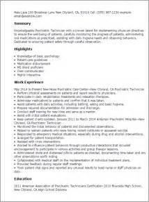 behavior therapist resume objective professional psychiatric technician templates to showcase