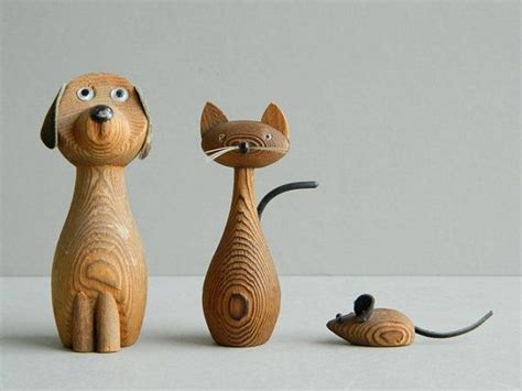 danish modern cryptomeria wood dog cat  mouse