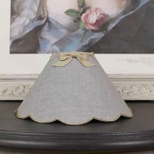Abat Jour Nuage : abat jour festons pour lampe en toile de lin teint gris ruban lin ~ Teatrodelosmanantiales.com Idées de Décoration