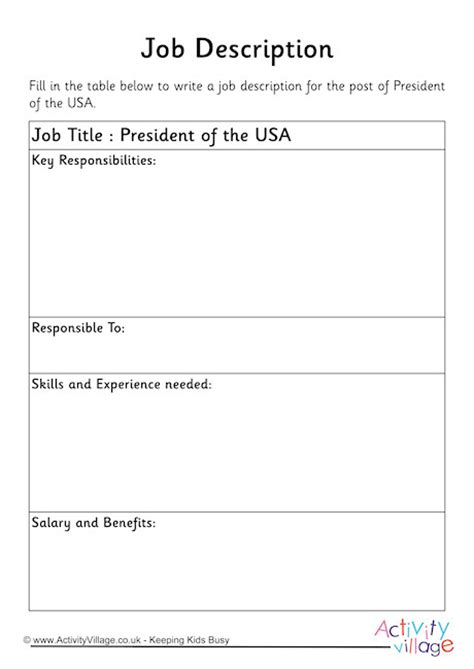 president   usa job description worksheet